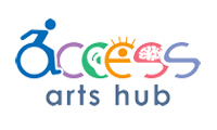 Access spelt with disability icons in multi – colours. Arts Hub in blue font.